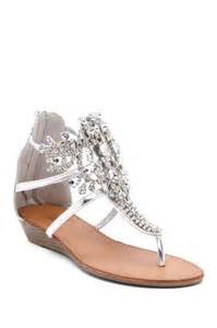 Silver Flat Sandals with Rhinestones