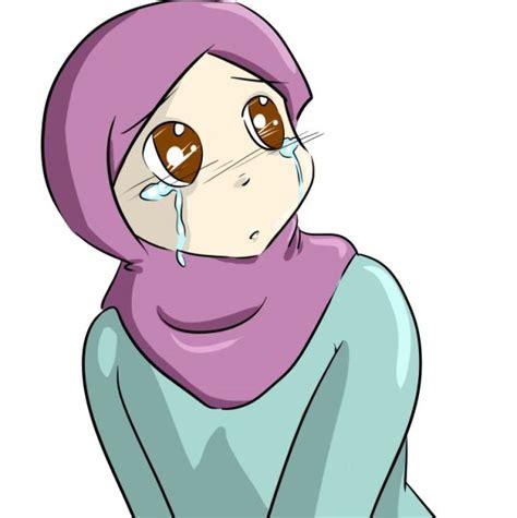 Anime Berhijab Bergerak Gambar Kartun Muslimah Sedih Menangis Png 585 215 587