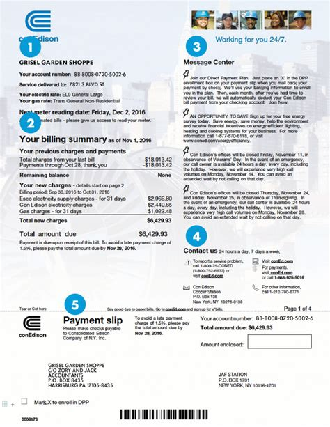sample billlarge commercial  kw  edison