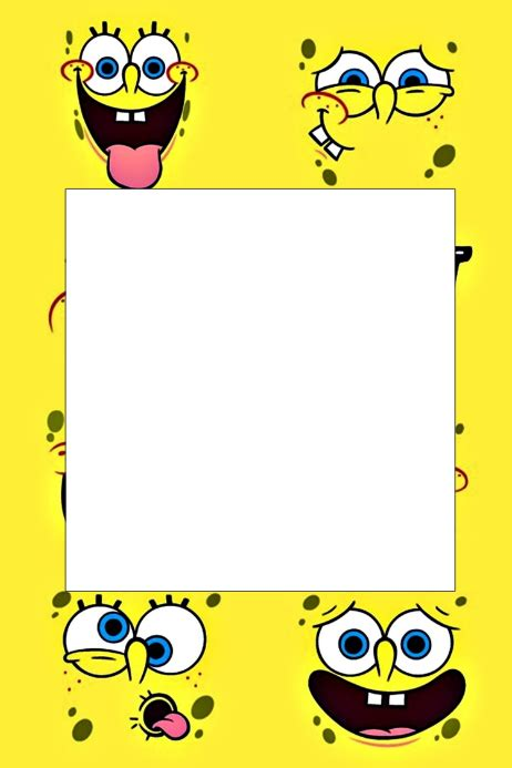spongebob birthday card template spongebob prop frame template postermywall