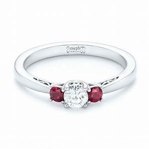 custom three stone ruby and diamond engagement ring 102897 With wedding rings with rubies