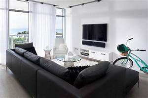 The art of placing television on the wall for Couch and sofa table in front of window