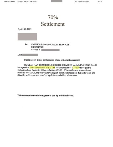 printable settlement letter form generic