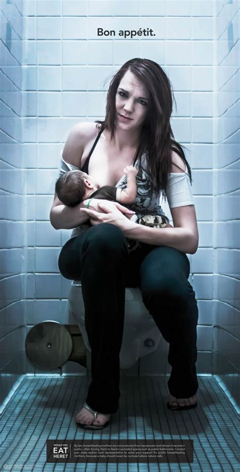 mom at the toilet breastfeeding ads show ridiculousness of nursing on the toilet