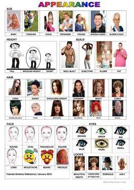 esl appearance worksheets