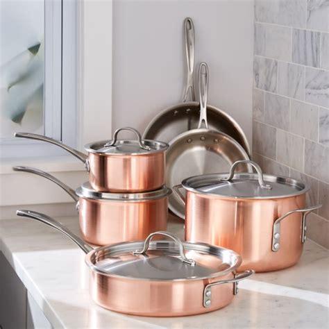 calphalon tri ply copper  piece cookware set reviews crate  barrel