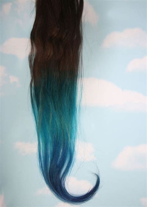 Turquoise Blue Tip Dyed Hair Extensions Dark Brownblack