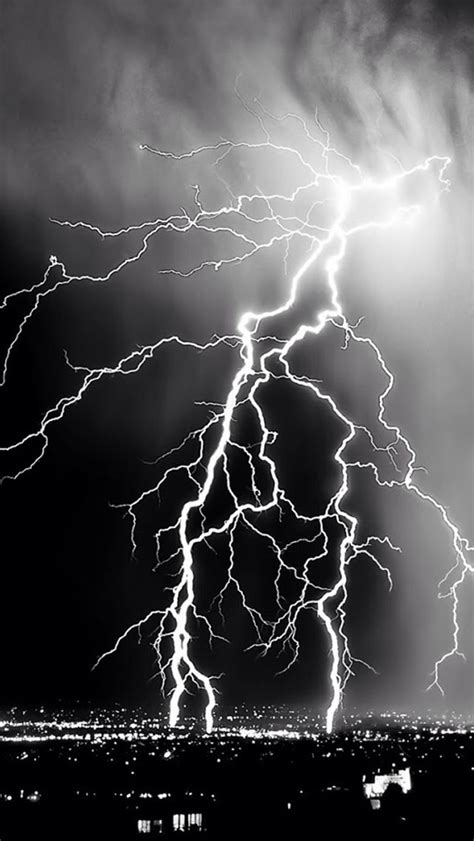 nature lightening storm over city iphone 5s wallpaper