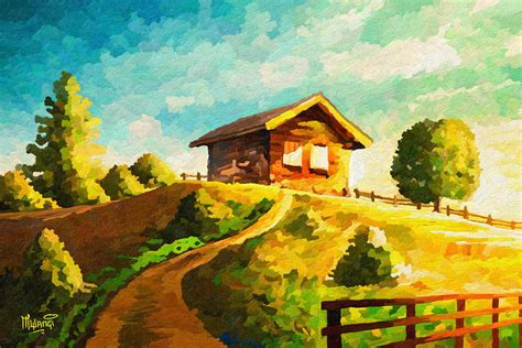 cabin on the hill cabin on hill painting by anthony mwangi