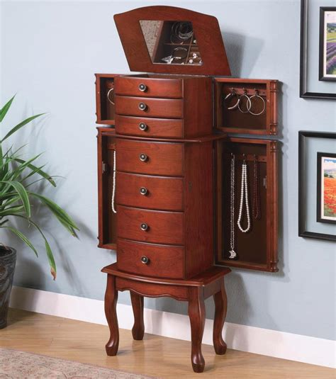 antique oak collection  jewelry armoire