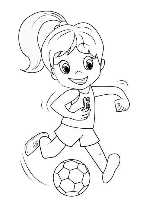 ausmalbild maedchen mit fussball malvorlage zum ausdrucken