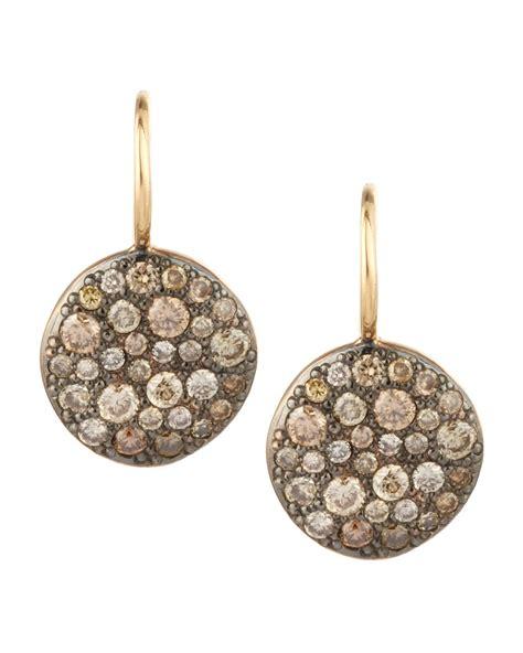 pave jewelry pomellato sabbia brown pave diamond earrings in metallic lyst