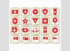 Set of switzerland flag icons Vector Image 2034498