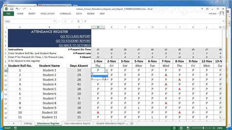school attendance register  report excel template