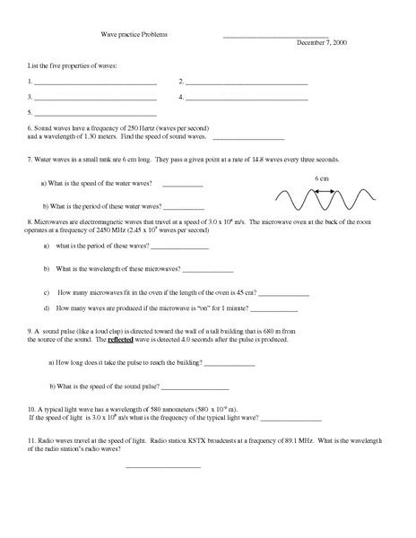 Math Skills Wave Speed Worksheet Answers  Quiz Worksheet Sound Waves Characteristics Types