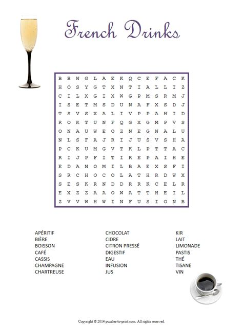 french drinks word search puzzle fran 231 aise learning