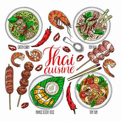 Thai Vector Clip Thailand Illustrations Asian Cuisine