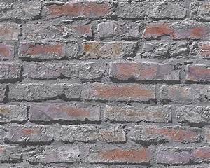 tapete stein steinwand grau rot as creation 95470 2 With balkon teppich mit steinwand tapete selbstklebend