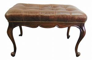 Vintage, Louis, Xv, Leather, Tufted, Vanity, Bench, In, 2020