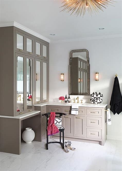 Mirrored Bathroom Vanity Cabinets by Gray Bath Vanity With Lucite Stool Transitional Bathroom