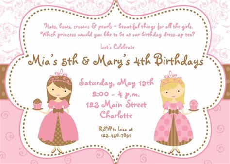 princess tea party birthday invitations dolanpedia