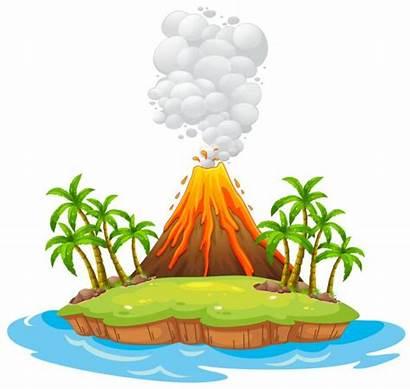 Volcano Island Illustration Depositphotos