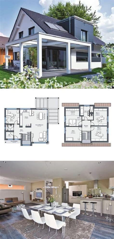 einfamilienhaus architektur modern mit satteldach und pergola terrasse fertighaus grundriss
