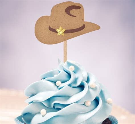 western cowboy hats cupcake toppers wedding birthday baby