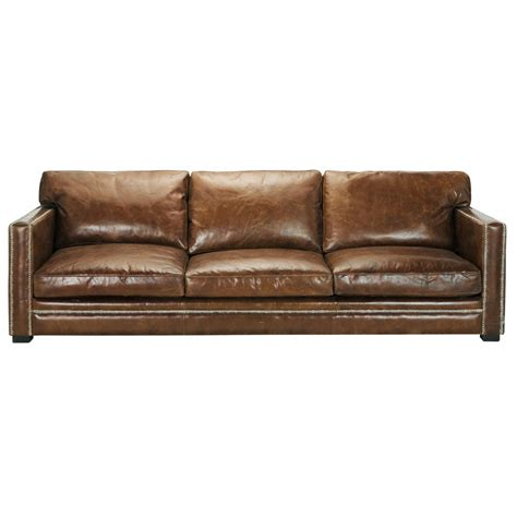 4 5 seater leather sofa in brown dandy maisons du monde