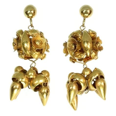 antique gold bloom shaped chandelier earrings catawiki