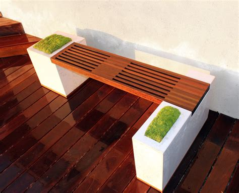 concrete and ipe bench modern patio los angeles by
