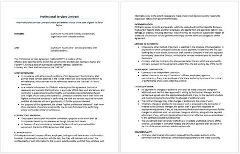Contract For Professional Services Template professional services agreement template microsoft word