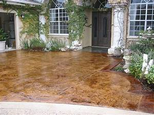 Contemporary great acid stain concrete floors stamped for Stained concrete patio floors