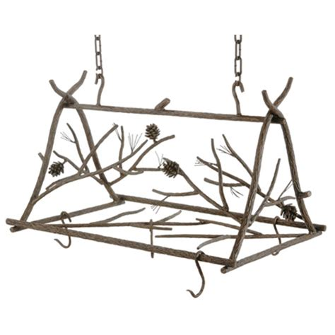 wrought iron rustic pine pot rack by county ironworks