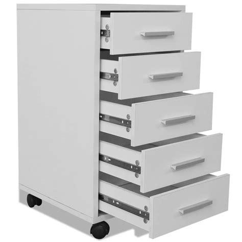 bureau blanc avec tiroir acheter vidaxl caisson à tiroir de bureau avec roulettes