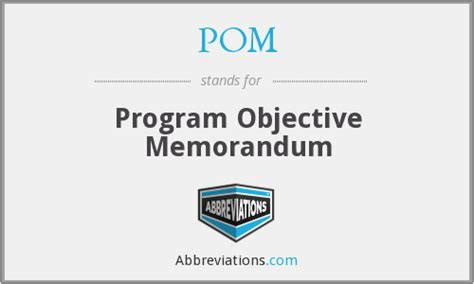 Program Objective Memorandum Definition Tracksmanager