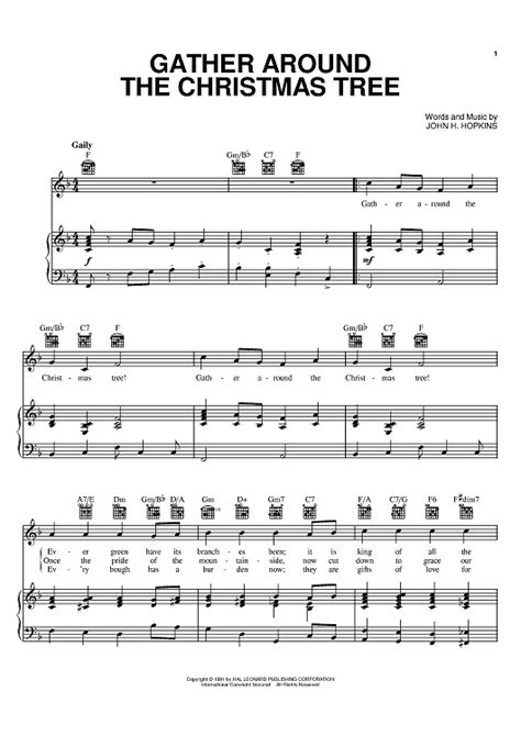 gather around the christmas tree sheet music for piano