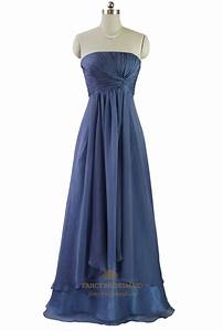 Navy Blue Strapless Pleated Bodice Chiffon Bridesmaid ...