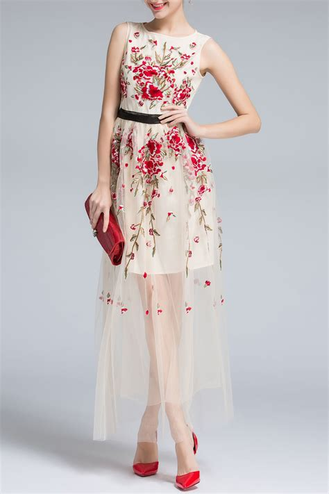 floral embroidery sleeveless voile maxi dress girly