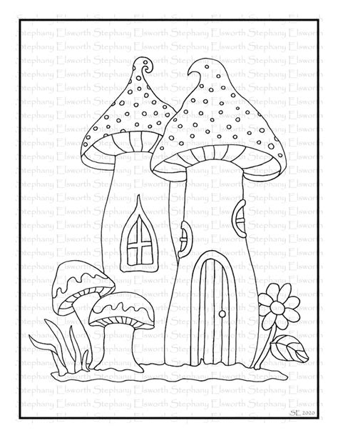 mushroom fairy houses set   coloring pages etsy