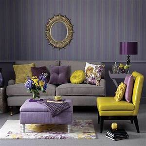 Home christmas decoration theme design purple and gold for Yellow grey and purple living room