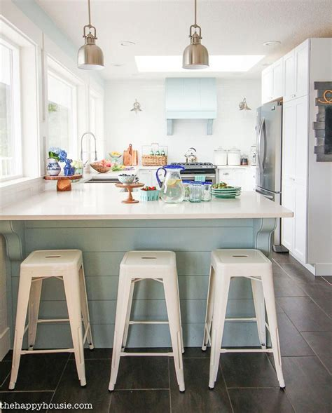 Cozy Coastal Home by A Cozy Coastal Cottage Kitchen With Classic White Metal