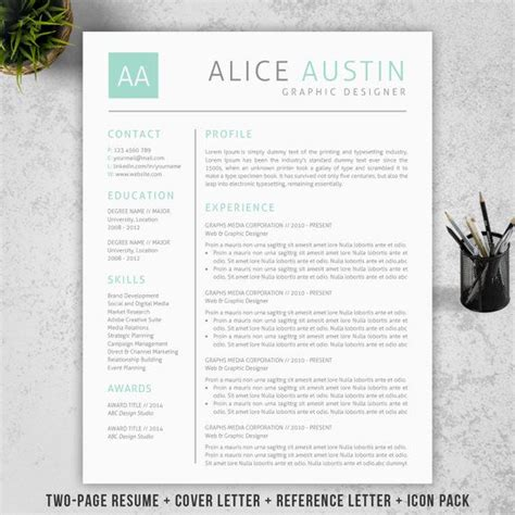 resume template cover letter reference letter