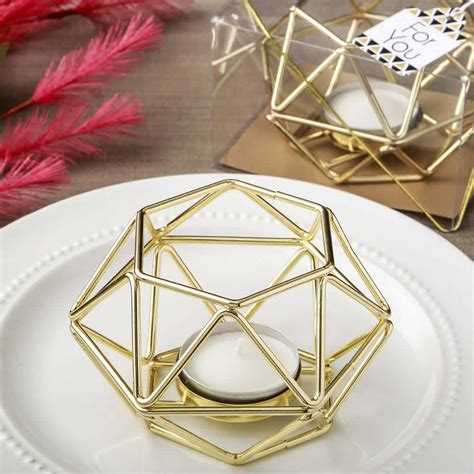 gold hexagon metal candle holder free custom tags