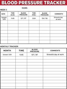 blood pressure monitoring charts printable