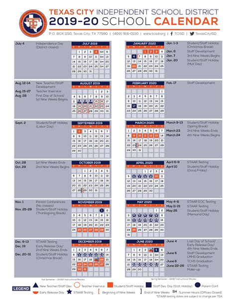 calendar texas city independent school district