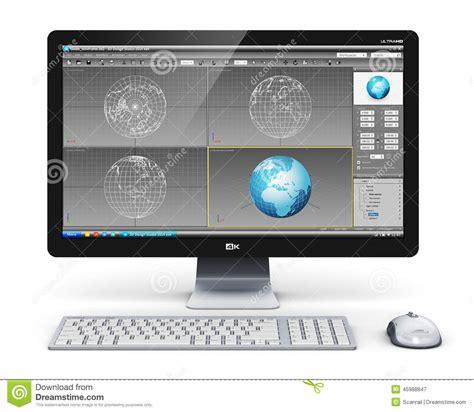 ordinateur de bureau professionnel poste de travail professionnel d ordinateur de bureau illustration stock image 45988847