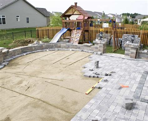 installing patio pavers hardscape installation landscape contractors for glen