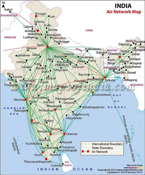 airports and air route map of india india thematic maps