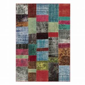 tapis contemporain patchwork multicolore en laine et coton With tapis laine multicolore